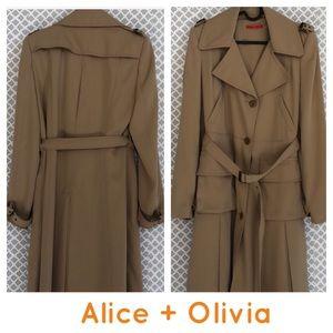 Alice + Olivia tan long pleated trench coat